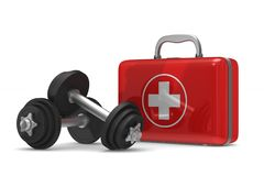 First aid kit and dumbbells on white background. Isolated 3D ill. Ustration Royalty Free Stock Photo