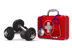 First aid kit and dumbbells on white background. Isolated 3D ill. Ustration Stock Photos