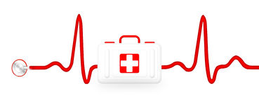 First Aid kit with ECG pulse graph and stethoscope Royalty Free Stock Photos