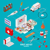 First Aid Kit Element Set Isometric View. Vector. First Aid Kit Element Set Isometric View Clinic and Emergency Ambulance Medicine. Vector illustration Stock Photo