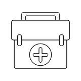 First aid kit emergency equipment thin line Royalty Free Stock Image