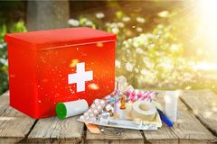 First aid kit. First aid healthcare and medicine travel medical exam emergency sign doctor royalty free stock images