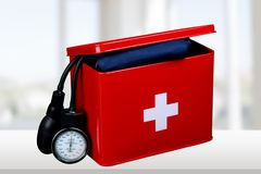 First aid kit. Medicine charity and relief work medical exam first place winning assistance Stock Image