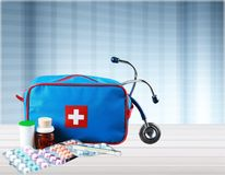 First aid kit. Medicine charity and relief work medical exam first place winning assistance Royalty Free Stock Photo