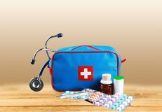 First aid kit. Medicine charity and relief work medical exam first place winning assistance stock illustration