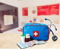 First aid kit. Medicine medical exam first place winning assistance healthcare and medicine Stock Photography