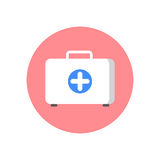 First aid kit flat icon. Round colorful button, Doctor bag circular  sign, logo illustration. Royalty Free Stock Photo