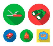 First aid kit, folding knife, binoculars, fire.Camping set collection icons in flat style vector symbol stock. Illustration Royalty Free Stock Images