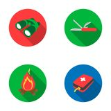 First aid kit, folding knife, binoculars, fire.Camping set collection icons in flat style vector symbol stock. Illustration Stock Image