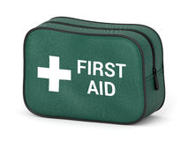 First aid kit. Green fabric bag with medical cross symbol and text isolated on white background. 3D illustration Royalty Free Stock Photography