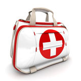 First aid kit. Handbag with a red cross, symbolizing first aid supplies Royalty Free Stock Images