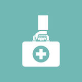 First aid kit in hands doctor. Isolated icon on background, silhouette. Medical concept. Vector illustration in flat design Stock Image