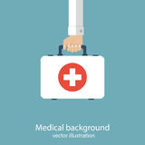 First aid kit in hands doctor. Medical background. Vector illustration in flat design Stock Image