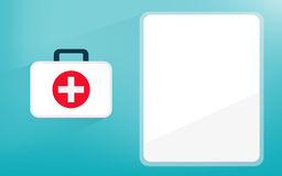 First aid kit health care tool. With information copy space Stock Images
