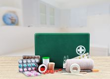 First Aid Kit. First Aid Healthcare And Medicine Travel Medical Exam Emergency Sign Doctor Stock Photography