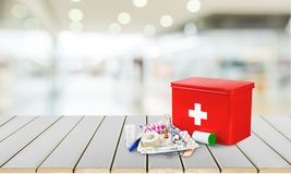 First Aid Kit. First Aid Healthcare And Medicine Travel Medical Exam Emergency Sign Doctor Royalty Free Stock Photography
