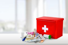 First Aid Kit. First Aid Healthcare And Medicine Travel Medical Exam Emergency Sign Doctor Stock Images