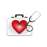 First aid kit with heart and stethoscope Stock Photos