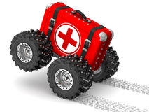 First-aid kit hurries to help. Red first-aid kit with wheels hurries to help. The three-dimensional illustration Stock Photos