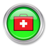 First Aid Kit Icon. Vector First Aid Kit Icon Glossy Metallic Button. EPS10 Royalty Free Stock Photo