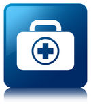 First aid kit icon blue square button. First aid kit icon isolated on blue square button reflected abstract illustration Royalty Free Stock Photos