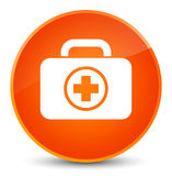 First aid kit icon elegant orange round button. First aid kit icon isolated on elegant orange round button abstract illustration Royalty Free Stock Photography