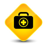 First aid kit icon elegant yellow diamond button. First aid kit icon isolated on elegant yellow diamond button abstract illustration Stock Photo