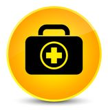 First aid kit icon elegant yellow round button. First aid kit icon isolated on elegant yellow round button abstract illustration Stock Photography