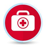 First aid kit icon flat prime red round button. First aid kit icon isolated on flat prime red round button abstract illustration stock illustration