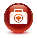 First aid kit icon glassy brown round button. First aid kit icon isolated on glassy brown round button abstract illustration Royalty Free Stock Photos