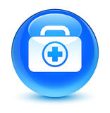 First aid kit icon glassy cyan blue round button. First aid kit icon isolated on glassy cyan blue round button abstract illustration Stock Image