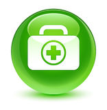First aid kit icon glassy green round button. First aid kit icon isolated on glassy green round button abstract illustration Stock Photography