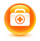 First aid kit icon glassy orange round button. First aid kit icon isolated on glassy orange round button abstract illustration Royalty Free Stock Photos