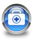 First aid kit icon glossy blue round button. First aid kit icon isolated on glossy blue round button abstract illustration Royalty Free Stock Photography
