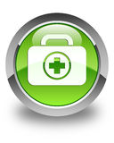 First aid kit icon glossy green round button. First aid kit icon isolated on glossy green round button abstract illustration Stock Photo