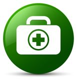 First aid kit icon green round button. First aid kit icon isolated on green round button abstract illustration Royalty Free Stock Image