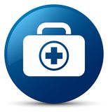 First aid kit icon blue round button. First aid kit icon isolated on blue round button abstract illustration Stock Photo