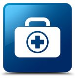 First aid kit icon blue square button. First aid kit icon isolated on blue square button abstract illustration Stock Image