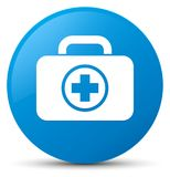 First aid kit icon cyan blue round button. First aid kit icon isolated on cyan blue round button abstract illustration Royalty Free Stock Photography