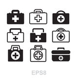 First aid kit icon isolated. Doctors bag with cross, medical suitcase outline, medicine handbag illustration. First aid kit sign. Simple black icon set isolated Royalty Free Stock Photography