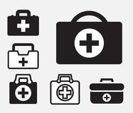 First aid kit icon isolated. Doctors bag with cross, medical suitcase outline, medicine handbag illustration. First aid kit sign. Simple black icon set isolated Royalty Free Stock Image