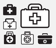 First aid kit icon isolated. Doctors bag with cross, medical suitcase outline, medicine handbag illustration. First aid kit sign. Simple black icon set isolated Royalty Free Stock Photo
