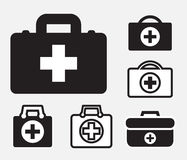 First aid kit icon isolated. Doctors bag with cross, medical suitcase outline, medicine handbag illustration. First aid kit sign. Simple black icon set isolated Royalty Free Stock Images