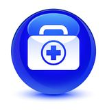 First aid kit icon glassy blue round button. First aid kit icon isolated on glassy blue round button abstract illustration Stock Photography