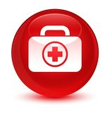 First aid kit icon glassy red round button Royalty Free Stock Image