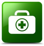 First aid kit icon green square button. First aid kit icon isolated on green square button abstract illustration Stock Photos