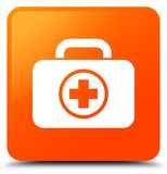 First aid kit icon orange square button. First aid kit icon isolated on orange square button abstract illustration Royalty Free Stock Images
