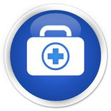 First aid kit icon premium blue round button. First aid kit icon isolated on premium blue round button abstract illustration Royalty Free Stock Image