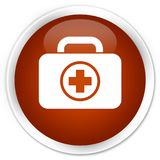 First aid kit icon premium brown round button. First aid kit icon isolated on premium brown round button abstract illustration Stock Photo