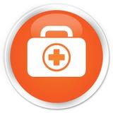First aid kit icon premium orange round button. First aid kit icon isolated on premium orange round button abstract illustration Stock Photos